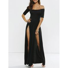 Wholesale High Slit Off Shoulder Evening Dress Only $7.76 Drop Shipping | TrendsGal.com