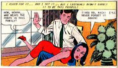 Mitch O'Connell: Sex in Comics! The top 100 strangest, suggestive and steamy vintage comic book panels of all time! Vintage Comic Books, Vintage Comics, Comic Books Art, Batman Comics, Funny Comics, Getting Spanked, Spanking Art, Funny Postcards, Comic Book Panels