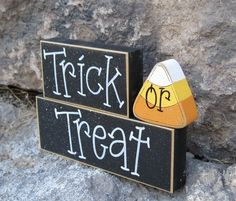 HALLOWEEN TRICK or TREAT Blocks for Halloween, home, desk, shelf, mantle, holiday, october, jackolantern, pumpkin, decor on Etsy, $14.95