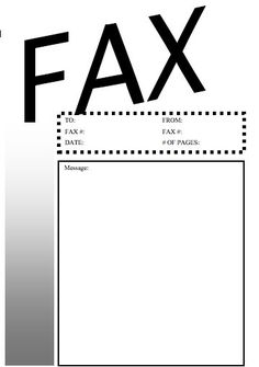 This basic black-and-white printable fax cover sheet has the word Fax very large and the information fields are bordered by a dotted line. Free to download and print