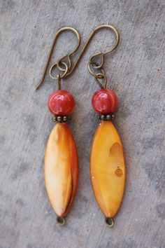Golden Yellow Ovals & Burnt Red Glass Beaded and by ReeseJewelry, $12.50