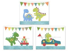 Perfect trio of 8x10 prints for nursery or children's room - dinosaurs, ABC, 123, race car, go kart - Nursery Wall Art Print, set of 3