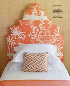 Bedroom - Great fabric for the upholstered head board....bang on with the colour palette....very chic.