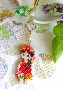 I can make that. Brick stitch pendant.