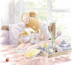 image by Simon Taylor-Kielty Miss Mouse enjoys tea in bed Illustration Mignonne, Children's Book Illustration, Book Illustrations, Child Draw, Susan Wheeler, Art Mignon, Marjolein Bastin, Hamster, Cute Mouse