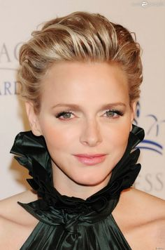 HSH Princess Charlene of Monaco in Ralph Lauren fall 2013 10/30/13   Love the swept back hair and high collar
