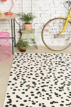 black + white dot rug