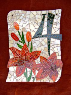The only mosaic I could make lately. The irregular shape, the lily, the colors were requests of the client. Stained glass, brass wire, glass beads on DOMOBOARD (somethig like WEDI) cca. Mosaic Crafts, Mosaic Projects, Mosaic Art, Mosaic Glass, Mosaic Tiles, Glass Art, Stained Glass, Cement Tiles, Wall Tiles