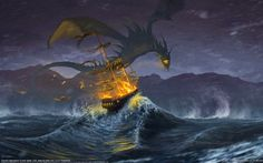 A more traditional dragon - except this, like Wrack, is a wyvern, with no forelegs, only wings. This is by Arnir Salehi.