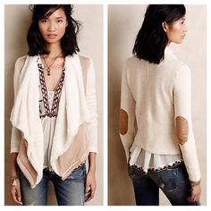 """Anthropologie Saturday/Sunday sherpa sweater Saturday/Sunday draped open front Sherpa sweater from Anthropologie. DETAILS By Saturday/Sunday Cotton, polyester, rayon knit Waffle-knit sleeves Waterfall front with cozy sherpa lining Open front Machine wash Nice preowned condition. Price firm!! Front length 30"""". Back length 24"""". Cotton and polyester. Anthropologie Sweaters"""