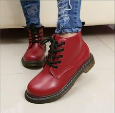 Womens work outdoor round toe lace up ankle boots retro school shoes