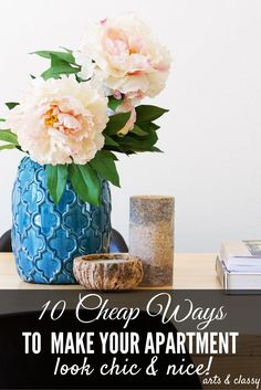 10 Cheap ways to make your apartment look chic and nice! You do not have to spend a lot to make your apartment feel more like home Diy Home Decor For Apartments, Diy Home Decor On A Budget, Affordable Home Decor, Decorating On A Budget, Cheap Home Decor, Interior Decorating, Easy Diy, Simple Diy, Do It Yourself Home