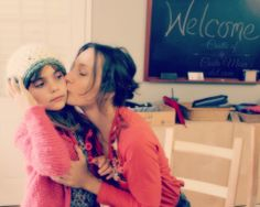 131119 Alena planting a kiss on Anicka's cheek as she wears her newly handmade crochet bulky yarn hat from the morning