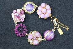 Bridesmaid Gift, Wedding Bracelet, Vintage Earring Bracelet, Cluster, Purple, Lilac, Flower, Jennifer Jones, Under 40, OOAK - Plum Perfect