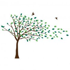 Blowing Tree Wall Decal, Assorted Colours