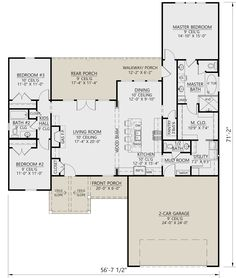 Modern Farmhouse Plan: Square Feet, 3 Bedrooms, Bathrooms – - Home & DIY New House Plans, Dream House Plans, House Floor Plans, Dream Houses, Ranch Floor Plans, Modern House Plans, Tiny Houses, The Loft, Br House