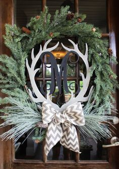 Wooden Monogram Antler Wreath