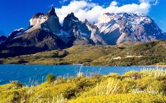 Torres del Paine from Lake Pehoé, Torres del Paine National Park, Chile