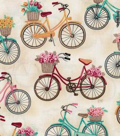 Novelty Quilt Fabric- Off White Bikes With Baskets. Would love to make a shower curtain for our bike-themed bath. Retro Bicycle, Bicycle Print, Vintage Bicycles, Fabric Patterns, Print Patterns, Arts And Crafts, Paper Crafts, Shabby, Novelty Fabric