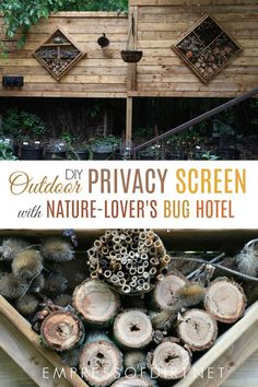 This freestanding outdoor privacy screen has beautiful built-in bug hotels. This freestanding outdoor privacy screen has beautiful built-in bug hotels. Privacy Screen Outdoor, Garden Privacy, Privacy Fences, Privacy Screens, Fencing, Big Leaf Plants, Bug Hotel, Insect Hotel, Diy Fence