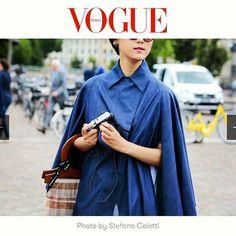 Blogger YiYun Mao in Yojiro Kake origami cape and shirt during Pitti Uomo 90, on Vogue Italia
