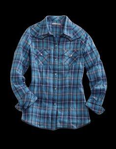 Tin Haul® Women's Blue Plaid Long Sleeve Pearl Snap Western Shirt