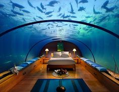 Conrad Maldives Hotel.  Bai said she probably couldn't go to sleep