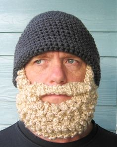 free Crochet Bearded Beanie Hat Pattern | the santa beard beanie version the fisherman beard beanie the
