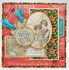 Come away with me card by Lori using very few supplies that lead to a dynamic result! #graphic45 #cards