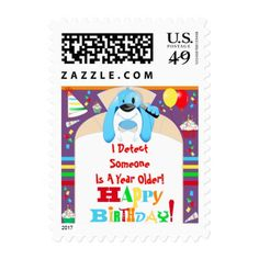 Cartoon Dog Detective Happy Birthday Treasure Hunt Postage - birthday gifts party celebration custom gift ideas diy
