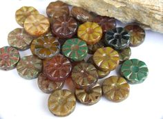 Glass Flower Beads Czech Glass Beads Earthy Colors Czech Picasso Beads 12 mm 4 pcs by RedTulipBeads on Etsy https://www.etsy.com/listing/163082509/glass-flower-beads-czech-glass-beads