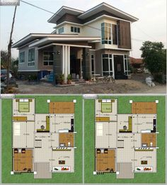 Modern House With Home Office - House And Decors Two Storey House Plans, 2 Storey House Design, Duplex House Design, Modern Residential Architecture, Architecture Plan, Dream House Plans, Modern House Plans, Home Map Design, Architectural House Plans