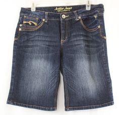 Justice Girls Simply Low Jean Denim Bermuda Shorts Dark Wash Size 16 #Justice