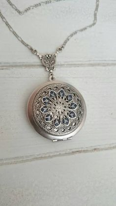 Vintage style Locket Necklace Vintage Antique silver by PinkLaLou