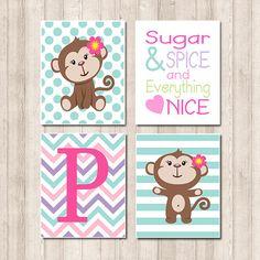 Baby Girl Monkey Nursery Aqua Sugar Spice Quote Polka Dot Stripe Chevron Zig Zag Custom Initial Set of 4 Prints Baby Girl Wall Art Picture on Etsy, $35.00