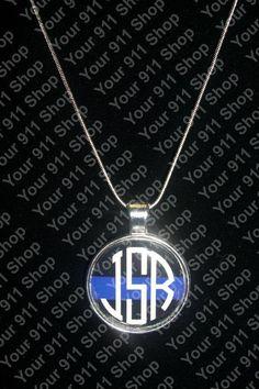 Thin Blue Line Monogram Necklace, $6.99