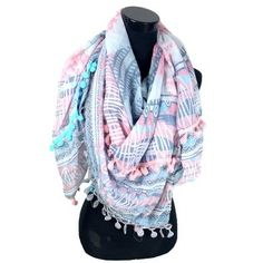 Luxe sjaal Ibiza Style met kwastjes en bolletjes