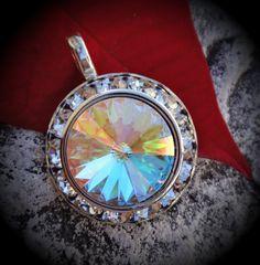 Genuine Rivoli Silver Plated Swarovski Crystal Clear AB Pendant on Etsy, $ 5.99
