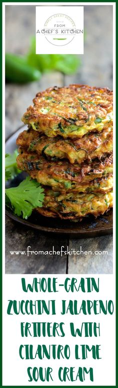 Whole Grain Zucchini Fritters with Cilantro Lime Sour Cream is the zucchini fritter reinvented! Whole grain, jalapeno and a zippy cilantro…