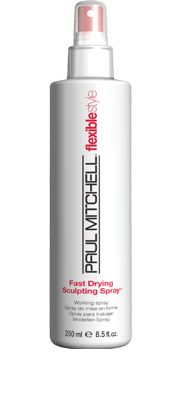 Fast Drying Sculpting Spray™  Working Spray    Adds body, flexible control and shine. Protects hair from damaging UV rays. Quickly reactivates with heat or water.  Flexible styling ingredients and a blend of algae, aloe, jojoba, henna and rosemary boost body   and shine. #paulmitchell #hair #hairproduct #hairdresser #crueltyfree