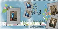 Cheerful Spring Double Page Layout Scrapbook Idea  #digitalscrapbooking #scrapbooking