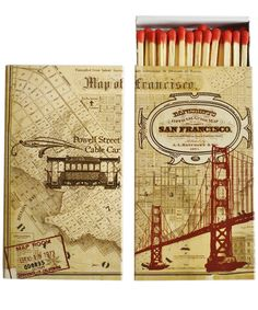 """- San Francisco Map Matchbook! - 50 matches to a box - featuring a vintage map of San Francisco, wrapped around the box - box measures 4.5"""" x 2.5"""" x .75"""""""
