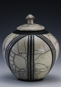white & black lidded raku vase jlw ceramics
