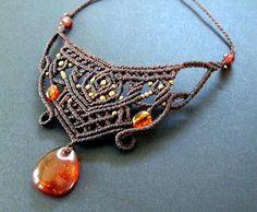 Baltischen Bernstein Makramee Halskette von Mediterrasian auf Etsy
