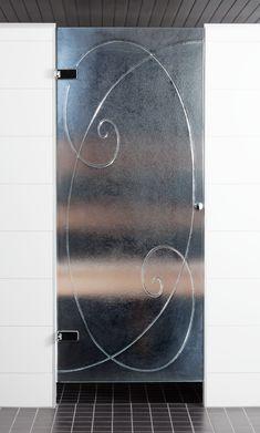 Bathroom glass door with golden cut figure by Essis Collection Glass Bathroom, Glass Doors, Collection, Glass Pocket Doors, Glass Door