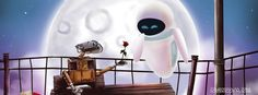 wall e eva cute love moonlight bench rose flower walle giving flower to eva watercolor effect cool facebook timeline covers