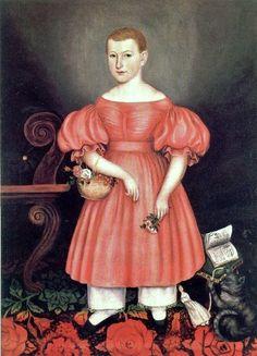 19C American Women: Children with Books - Folk Art