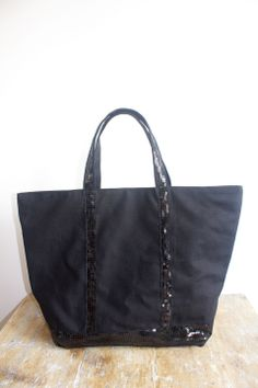 Sac à main / Cabas à paillettes noires : Sacs à main par by-vanessa