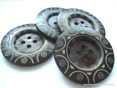 Large Dark Wood Coat Buttons Pack of 4 Extra Large Tribal Etched Buttons