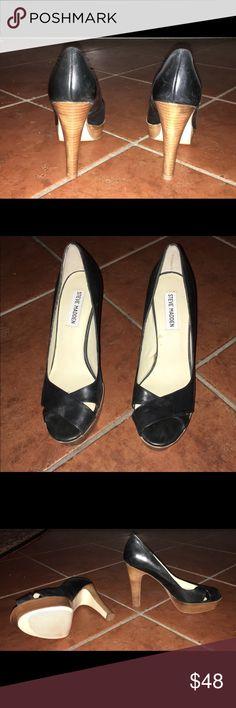 Steve Madden Platform heels Black with Brown wood-look heel and front platform. Mild wear. Steve Madden Shoes Heels